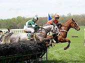 Rock Gold, in the orange and brown colors, leads Last Noble early in the Foxhunter's Bowl.