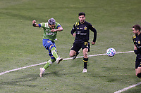 COLUMBUS, OH - DECEMBER 12: Raul Ruidiaz #9 of the Seattle Sounders FC takes a shot during a game between Seattle Sounders FC and Columbus Crew at MAPFRE Stadium on December 12, 2020 in Columbus, Ohio.