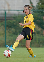 20200820 - TUBIZE , Belgium : Belgium's Enora Matte gives a pass during a friendly match between Belgian national women's youth soccer team called the Red Flames U17 and Union Saint-Ghislain Tetre , on the 20th of August 2020 in Tubize.  PHOTO: Sportpix.be | SEVIL OKTEM