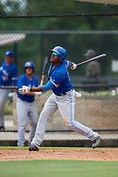 GCL Blue Jays third baseman Joseph Reyes (24) follows through on a swing during a game against the GCL Phillies East on August 10, 2018 at Carpenter Complex in Clearwater, Florida.  GCL Blue Jays defeated GCL Phillies East 8-3.  (Mike Janes/Four Seam Images)