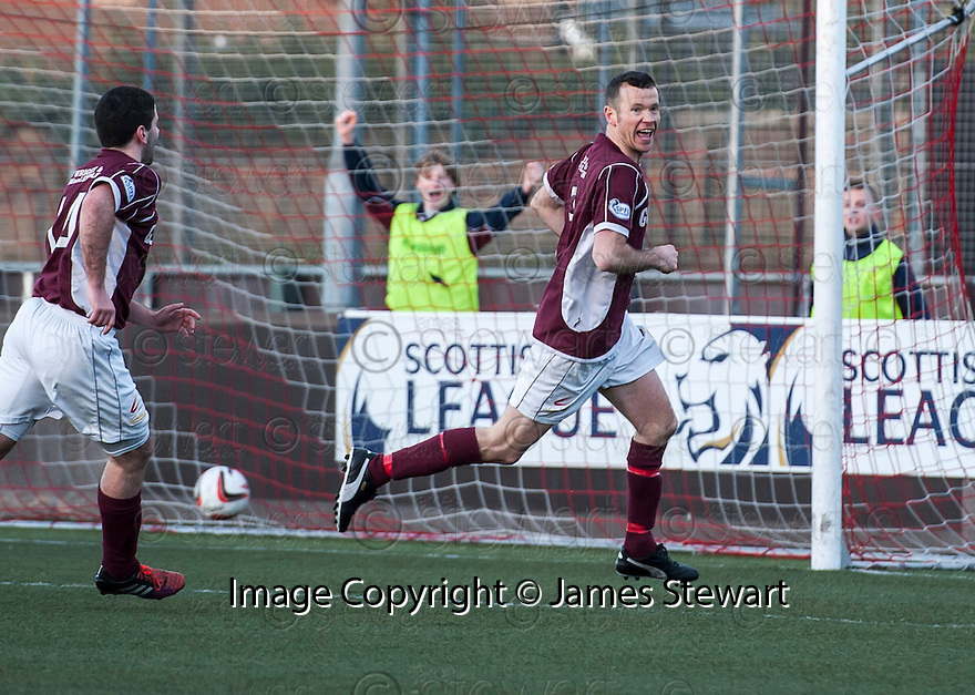 Stenny's Eddie Malone (3) celebrates with after he scores the late equaliser. <br /> <br /> <br /> 15/02/2014   jspa012_smuir_v_efife     <br /> Copyright  Pic : James Stewart   <br /> <br /> James Stewart Photography 19 Carronlea Drive, Falkirk. FK2 8DN      Vat Reg No. 607 6932 25   Tel:  +44 (0)7721 416997<br /> E-mail  :  jim@jspa.co.uk   If you require further information then contact Jim Stewart on any of the numbers above........