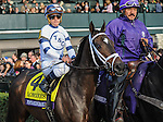 Stopchargingmaria, ridden by Javier Castellano and trained by Todd Pletcher, wins the G1 Breeders' Cup Distaff for three year olds and upward at Keeneland Racecourse in Lexington, KY.