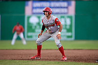 Williamsport Crosscutters right fielder Matt Vierling (28) leads off first base during a game against the Batavia Muckdogs on June 21, 2018 at Dwyer Stadium in Batavia, New York.  Batavia defeated Williamsport 6-5.  (Mike Janes/Four Seam Images)