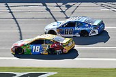 #18: Kyle Busch, Joe Gibbs Racing, Toyota Camry M&M's, #88: Alex Bowman, Hendrick Motorsports, Chevrolet Camaro Nationwide