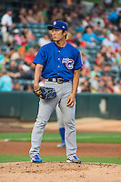 Iowa Cubs starting pitcher Tsuyoshi Wada (15) looks for the sign against the Salt Lake Bees in Pacific Coast League action at Smith's Ballpark on August 21, 2015 in Salt Lake City, Utah. The Bees defeated the Cubs 12-8. (Stephen Smith/Four Seam Images)