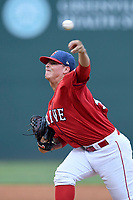 Starting pitcher Jhonathan Diaz (47) of the Greenville Drive delivers a pitch in a game against the Lexington Legends on Friday, June 30, 2017, at Fluor Field at the West End in Greenville, South Carolina. Lexington won, 17-7. (Tom Priddy/Four Seam Images)