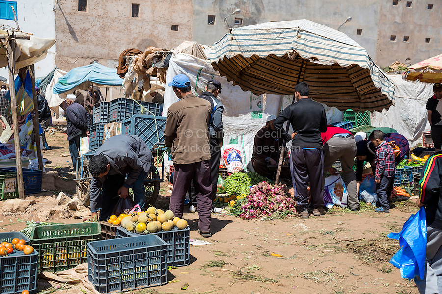 Morocco.  Melons and Vegetables for Sale, Had Draa Market, Essaouira Province.