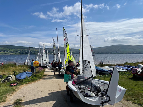 The RS fleets prepare to launch at Blessington Sailing Club for the 2021 RS Inlands