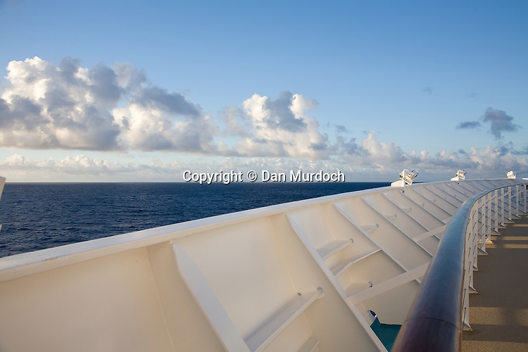 Atlantic Ocean view from the rail of a cruise ship.