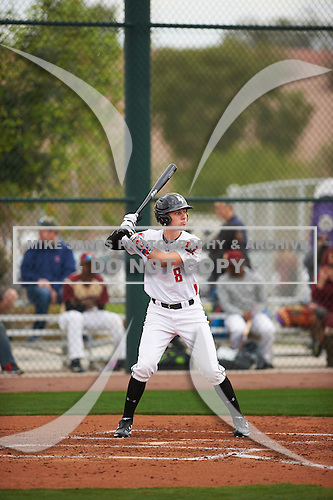 Ryan Kavulick (8) of Lutheran High North High School in Macomb, Michigan during the Under Armour All-American Pre-Season Tournament presented by Baseball Factory on January 14, 2017 at Sloan Park in Mesa, Arizona.  (Zac Lucy/Mike Janes Photography)