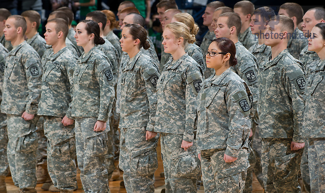 """Nov. 24, 2013; The University of Notre Dame Army ROTC cadets stand at attention as they are formally presented with the Order of the Founders and Patriots of America Award. The Order presents the award to """"the first-place winner for the year of U.S. Army ROTC units.""""<br /> <br /> Photo by Matt Cashore/University of Notre Dame"""
