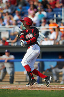 Batavia Muckdogs outfielder Galvi Moscat (27) at bat during a game against the Mahoning Valley Scrappers on July 3, 2015 at Dwyer Stadium in Batavia, New York.  Batavia defeated Mahoning Valley 7-4.  (Mike Janes/Four Seam Images)