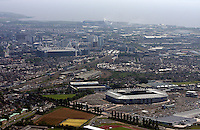 Aerial view of the new Cardiff City Stadium and the Millennium Stadium in south Wales