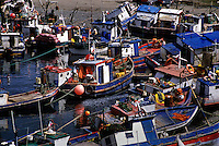 FISHING BOATS at PUERTO HAMBRE, the first settlement on the STRAIT OF MAGELLAN - PATAGONIA, CHILE