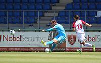goalkeeper Gaetan Coucke (1) of KV Mechelen kicks the ball during a friendly soccer game between KV Mechelen and the Greek Volos NFC during the preparations for the 2021-2022 season , on saturday 17 of July 2021 in GEEL , Belgium . PHOTO SEVIL OKTEM | SPORTPIX