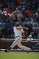 SAN FRANCISCO, CA - SEPTEMBER 29:  Madison Bumgarner #40 of the San Francisco Giants bats against the Los Angeles Dodgers during the game at Oracle Park on Sunday, September 29, 2019 in San Francisco, California. (Photo by Brad Mangin)