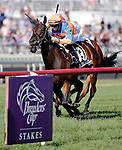 ARLINGTON HEIGHTS, IL - AUGUST 13: Sea Calisi #13, ridden by Florent Geroux, wins the Beverly D. Stakes at Arlington International Racecourse on August 13, 2016 in Arlington Heights, Illinois. (Photo by Jon Durr/Eclipse Sportswire/Getty Images)