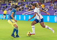 ORLANDO, FL - JANUARY 22: Catarina Macario #29 of the USWNT dribbles during a game between Colombia and USWNT at Exploria stadium on January 22, 2021 in Orlando, Florida.