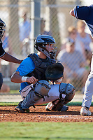 Angelo Cantelo during the WWBA World Championship at the Roger Dean Complex on October 19, 2018 in Jupiter, Florida.  Angelo Cantelo is a catcher from Blue Island, Illinois who attends Marian Catholic High School and is committed to Lewis.  (Mike Janes/Four Seam Images)