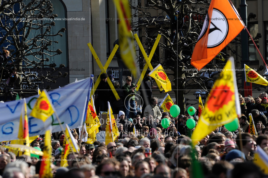 GERMANY Hamburg 2011 march 26 , large rally and meeting at townhall market against nuclear power after accident Fukushima in Japan