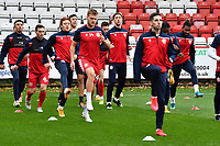 Stevenage players warm up during Stevenage vs Bolton Wanderers, Sky Bet EFL League 2 Football at the Lamex Stadium on 21st November 2020
