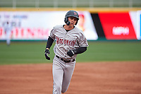 Wisconsin Timber Rattlers designated hitter Chad McClanahan (9) rounds the bases after hitting a home run during a Midwest League game against the Lansing Lugnuts at Cooley Law School Stadium on May 1, 2019 in Lansing, Michigan. Wisconsin defeated Lansing 8-3 after the game was suspended from the previous night. (Zachary Lucy/Four Seam Images)