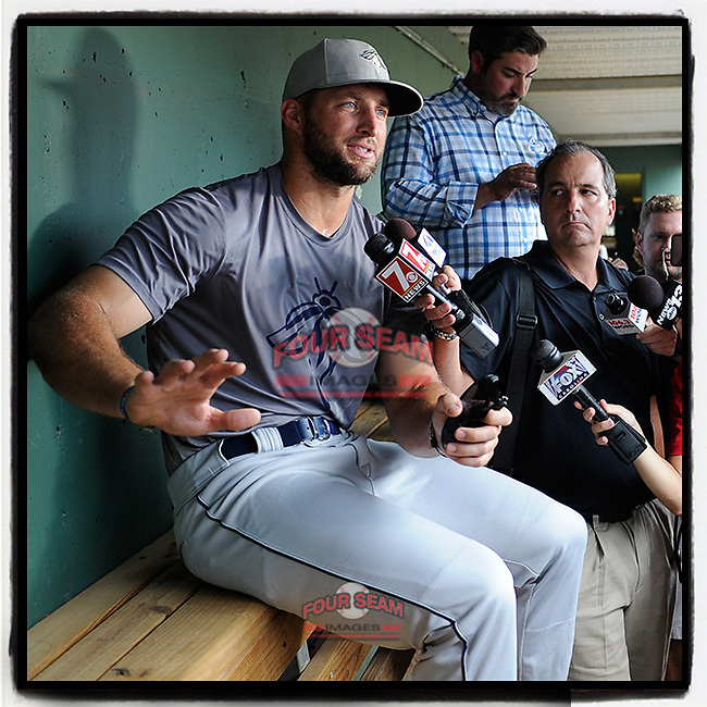 #OTD On This Day, June 13, 2017, Tim Tebow of the Columbia Fireflies spoke with the media from the dugout before his first appearance at Fluor Field at the West End in Greenville, South Carolina. Tebow collected two RBIs in the game. This spring the New York Mets offered him a non-roster invitation to spring training. (Tom Priddy/Four Seam Images) #MiLB #OnThisDay #MissingBaseball #nobaseball #stayathome #minorleagues #minorleaguebaseball #Baseball #SallyLeague #AloneTogether