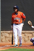GCL Astros designated hitter L.P. Pelletier (2) at bat during the first game of a doubleheader against the GCL Mets on August 5, 2016 at Osceola County Stadium Complex in Kissimmee, Florida.  GCL Astros defeated the GCL Mets 4-1 in the continuation of a game started on July 21st and postponed due to inclement weather.  (Mike Janes/Four Seam Images)