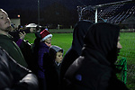 Congleton Town 1 Coventry United 1 (Pens 4-3), 19/12/2020. Ivy Gardens, FA Vase Third Round. Home fans watching their team pressing for a second-half equaliser as Congleton Town play Coventry United. The home team were founded in 1901 and played in the North West Counties League Premier Division. They defeated their opponents from the Midland League Premier Division 4-3 on penalties after the match ended 1-1, watched by 300 spectators, the maximum permitted under Covid-19 restrictions. Photo by Colin McPherson.
