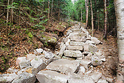 October 2011 - New stone steps along the Mt Tecumseh Trail in New Hampshire. At the time of this photo, no erosion was visible on the left-hand side of the trail work, where the large holes are. However, this section has changed considerably over the years. See how it looked nine months later here: http://bit.ly/2vQOMr9