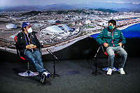 23rd September 2021; Sochi, Russia;  F1 Grand Prix of Russia 14 Fernando Alonso ESP, Alpine F1 Team, 18 Lance Stroll CAN, Aston Martin Cognizant F1 Team, F1 Grand Prix of Russia at Sochi Autodrom   driver press conference