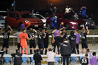 SAN JOSE, CA - NOVEMBER 4: San Jose Earthquakes players celebrate with the fans during a game between Los Angeles FC and San Jose Earthquakes at Earthquakes Stadium on November 4, 2020 in San Jose, California.