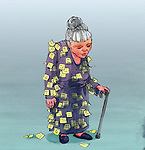 Illustrative image of elderly woman with sticky notes attached on clothing representing Alzheimer's disease