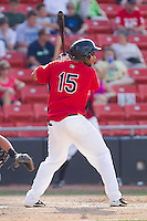Jared Bolden #15 of the Hickory Crawdads at bat against the Greensboro Grasshoppers at  L.P. Frans Stadium July 10, 2010, in Hickory, North Carolina.  Photo by Brian Westerholt / Four Seam Images