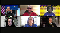 United States President-elect Joe Biden participates in a Virtual Roundtable with Frontline Health Care Workers from Wilmington, Delaware on Wednesday, November 18, 2020.  The President-elect took issue with the GSA and its unwillingness to certify his election.  Pictured, top row, left to right: President-elect Biden, Mary Turner, Brittany Williams; bottom row, left to right: Marcella Nunez-Smith, Patricia Forral, and Anthony Murray.<br /> Credit: Biden Transition via CNP /MediaPunch