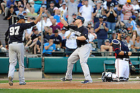 Catcher Brian McCann (34) of the New York Yankees scores a run after hitting a home run in a Spring Training game against the Atlanta Braves on Wednesday, March 18, 2015, at Champion Stadium at the ESPN Wide World of Sports Complex in Lake Buena Vista, Florida. The Yankees won, 12-5. (Tom Priddy/Four Seam Images)
