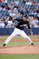 July 10th 2008:  Pitcher Reid Santos of the Akron Aeros, Class-AA affiliate of the Cleveland Indians, during a game at Canal Park in Akron, OH.  Photo by:  Mike Janes/Four Seam Images