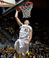 David Kravish of California prepares to dunk the ball during the game against CSUB at Haas Pavilion in Berkeley, California on November 11th, 2012.  California defeated CSUB, 78-65.