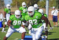 Sept. 16, 2009; Casa Grande, AZ, USA; California Redwoods defensive tackle (92) Jeff Littlejohn runs a drill during training camp at the Casa Grande Training Facility & Performance Institute. Mandatory Credit: Mark J. Rebilas-