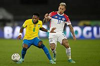 2nd July 2021; Nilton Santos Stadium, Rio de Janeiro, Brazil; Copa America, Brazil versus Chile; Fred of Brazil holds off Eduardo Vargas of Chile