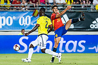 Marco Asensio of Spain competes for the ball with Cristian Eduardo Zapata of Colombia during the friendly match between Spain and Colombia at Nueva Condomina Stadium in Murcia, jun 07, 2017. Spain. (ALTERPHOTOS/Rodrigo Jimenez) (NortePhoto.com) (NortePhoto.com)