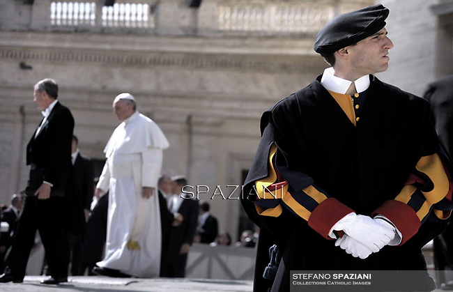 Pope Francis  during his weekly general audience in St. Peter square at the Vatican, Wednesday. March 18, 2015