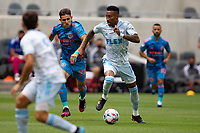LOS ANGELES, CA - MAY 29: Mark-Anthony Kaye #14 of LAFC moves with the ball during a game between New York City FC and Los Angeles FC at Banc of California Stadium on May 29, 2021 in Los Angeles, California.