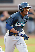 Jabari Blash #17 of the Pulaski Mariners hustles down the first base line against the Bristol White Sox at Boyce Cox Field August 28, 2010, in Bristol, Tennessee.  Photo by Brian Westerholt / Four Seam Images