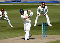 15th April 2021; Emirates Old Trafford, Manchester, Lancashire, England; English County Cricket, Lancashire versus Northants; Alex Davies of Lancashire pulls to the covers