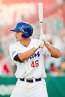 Corey Seager (46) of the Ogden Raptors at bat during the Pioneer League game against the Orem Owlz at Lindquist Field on July 27, 2012 in Ogden, Utah.  Seager was selected in the 1st round (18th overall) of the 2012 First Year Player Draft by the Los Angeles Dodgers.   (Brian Westerholt/Four Seam Images)