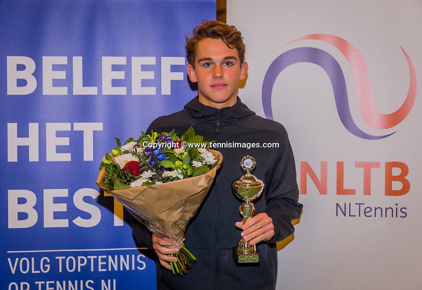 Wateringen, The Netherlands, December 8,  2019, De Rhijenhof , NOJK juniors 14 and18 years, Finals 18 years: Runner up boys 18 years Stein Pel (NED) <br /> Photo: www.tennisimages.com/Henk Koster