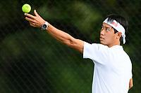 WASHINGTON, DC - AUGUST 1: Kei Nishikori (JPN) practices ahead of the 2021 Citi Open at Rock Creek Park Tennis Center on August 1, 2021 in Washington, DC.