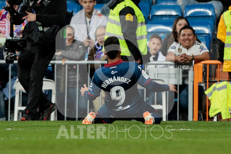 SD Huesca's Juan Camilo 'Cucho' Hernandez celebrates goal during La Liga match between Real Madrid and SD Huesca at Santiago Bernabeu Stadium in Madrid, Spain.March 31, 2019. (ALTERPHOTOS/A. Perez Meca)
