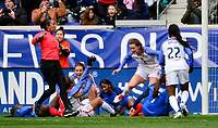 Harrison, N.J. - Sunday March 04, 2018: Mallory Pugh scores and celebrates her goal Mallory Pugh scores and celebrates her goal during a 2018 SheBelieves Cup match between the women's national teams of the United States (USA) and France (FRA) at Red Bull Arena.